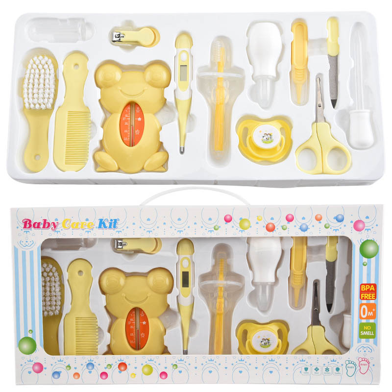 Baby Health Care Set Newborn Grooming Kit Safety Nail Clippers Scissors Thermometer Hairbrush Suit For Infant Care Tool CL5823
