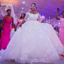 New African Ball Gown Wedding Dress 2021 Off the Shoulder Elegant Lace Wedding Gown