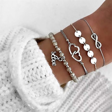 HOCOLE Bohemian Handmade Weave Heart Bead Bracelet Sets Women Fashion Silver Color Rope Chain Bracelets Charm Jewelry Party Gift