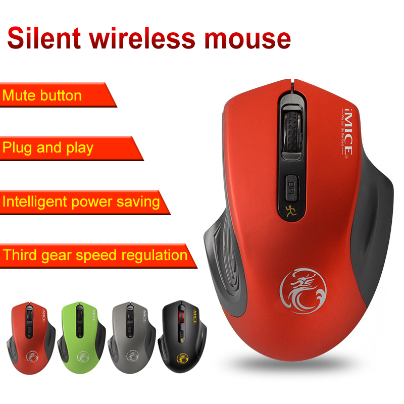Antscope Imice Wireless Mouse 2500DPI Adjustable USB Receiver Optical Computer Mouse 2.4GHz Ergonomic Mice For Laptop PC Mouse