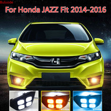 цена на 1 Set LED Car DRL Daytime Running Lights With Turn Yellow Signal 12V ABS Fog Light For Honda JAZZ Fit 2014 2015 2016