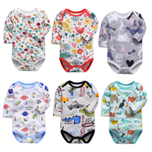 New Baby Bodysuit Lovely Printing Infant Jumpsuit Pure Cotton Long Sleeve Boys Girls Clothes