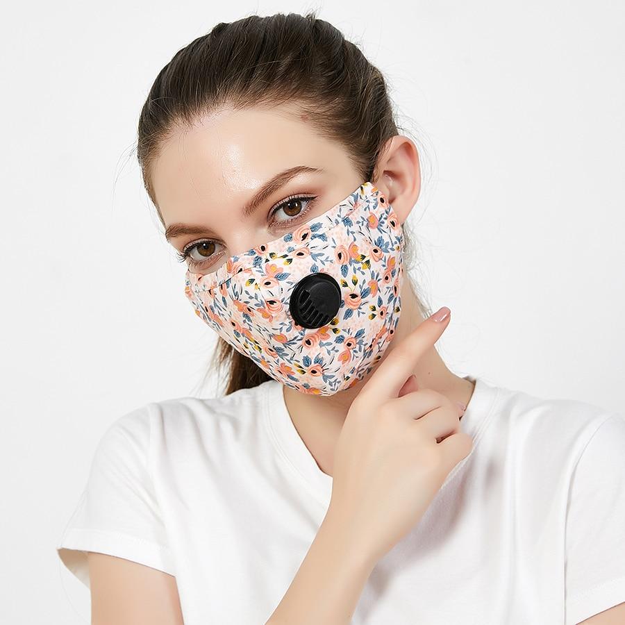 4set Unisex PM 2 5 Cotton Mouth Mask Women Flower Face Mask Washable Fabric Dust Camouflage