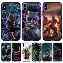 Marvel luxury For iPhone X XR XS 11 Pro Max 5 5S SE 6 6S 7 8 Plus Oneplus 5T Pro 6T phone Case Cover Coque Etui funda capa pattern fashion boy cartoon cool Spider-Man Hulk Deadpool Black TPU silicone capinha back enkay cool boy pattern protective plastic case for iphone 5 black multicolor