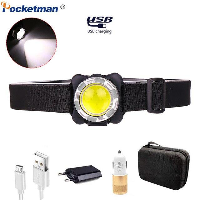 Faro brillante USB COB linterna LED para cabeza, recargable, resistente al agua, con batería integrada, iluminación blanca y roja