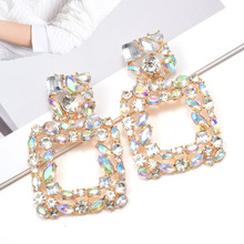 ZA New Crystals Fine  Jewelry Square Dangling Drop Earrings Wholesale High-Quality Hollowed-Out Pendientes Accessories For Women Christmas Gift