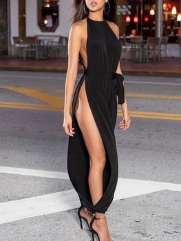 2020 NewWomen Fashion Sexy Solid Sleeveless Ruched Slit Halter Party Jumpsuit