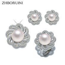 цена на ZHBORUINI Fashion Pearl Jewelry Set Natural Freshwater Pearl Flower Necklace Earrings Ring 925 Sterling Silver Jewelry For Women