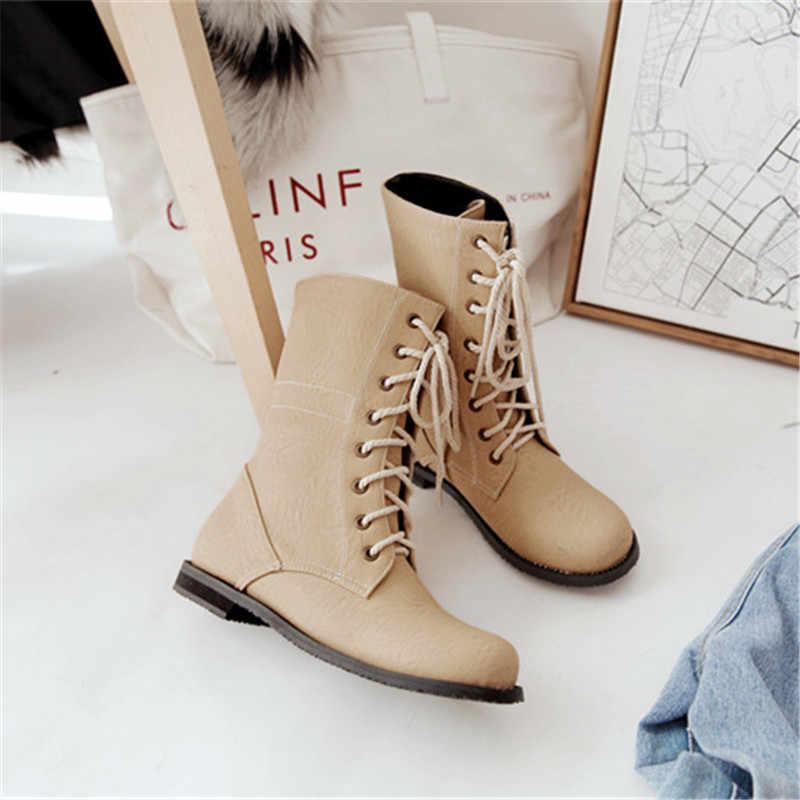 Odetina แฟชั่นผู้หญิง Lace Up ข้อเท้ารองเท้าฤดูใบไม้ร่วงฤดูใบไม้ร่วงฤดูใบไม้ร่วงฤดูใบไม้ร่วงสุภาพสตรี Comfort Elegant รอบ Toe ฤดูหนาว Combat Boots ขนาดใหญ่ 52