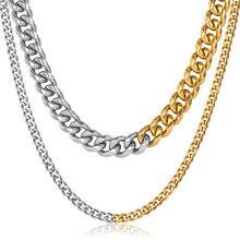 Collar de cadena de eslabones estilo cubano para hombre y mujer, gargantilla de acero inoxidable, Color dorado y plateado, Miami Hip Hop, DNM37