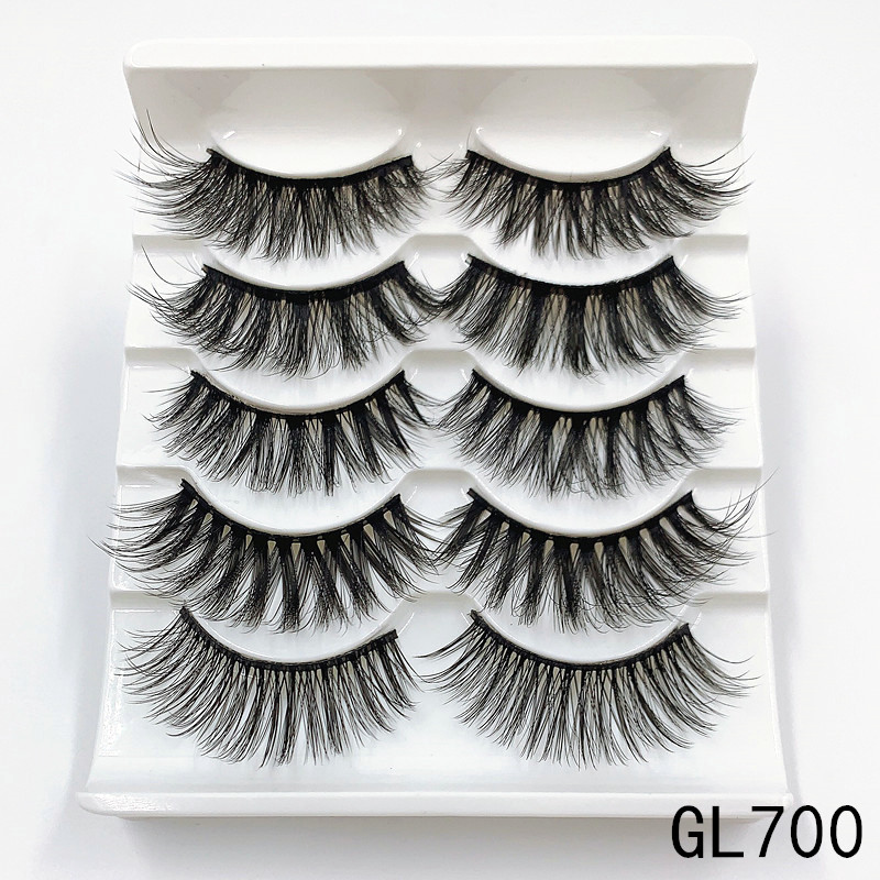 Mink eyelashes 5 pairs of handmade 3d mink lashes natural eyelashes extended beauty makeup false eyelashes 3