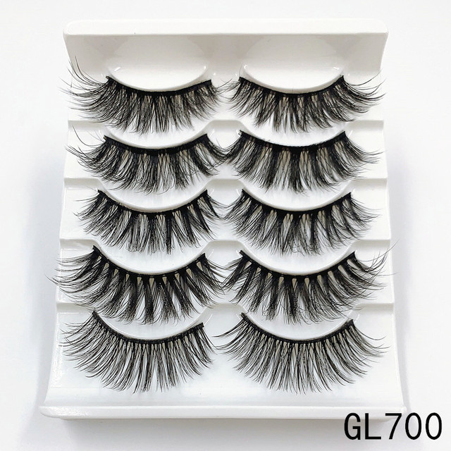 Mink eyelashes 5 pairs of handmade 3d mink lashes natural eyelashes extended beauty makeup false eyelashes 3