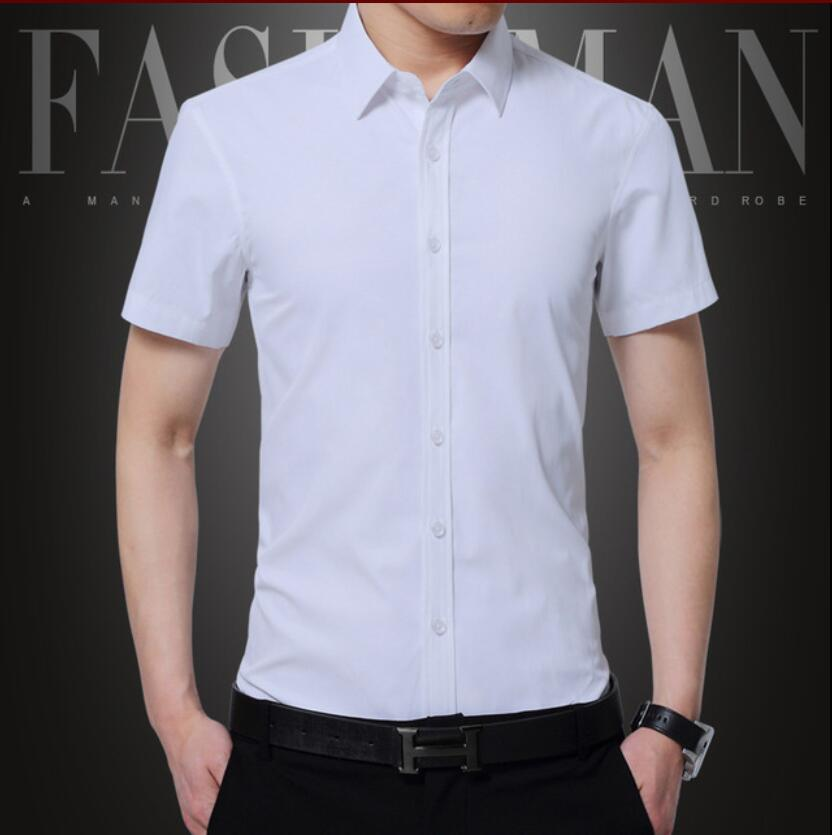 2019 New Summer Plus Size Business&Casual Men Dress Shirt Short Sleeve Shirt Solid Color Slim Fit Man Shirts