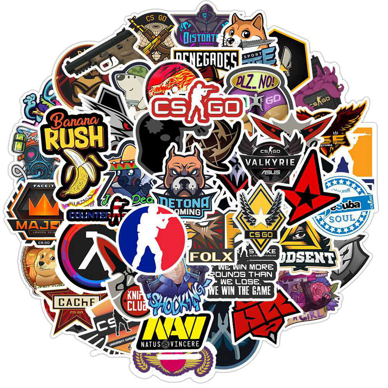 50Pcs Game CS GO Counter-Strike Stickers Guitar Albums Luggage Laptop Surfboard Skateboard Bicycle Fridge Sticker Decal