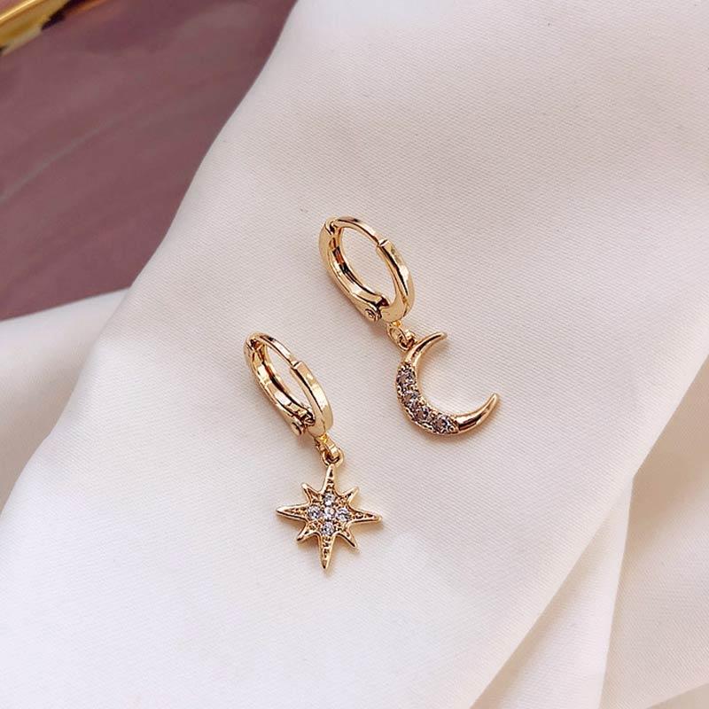 Moon Sun 1Pair Star Earrings New Arrival Fashion Classic Geometric Golden Asymmetric Earrings Crystal Earring Silver