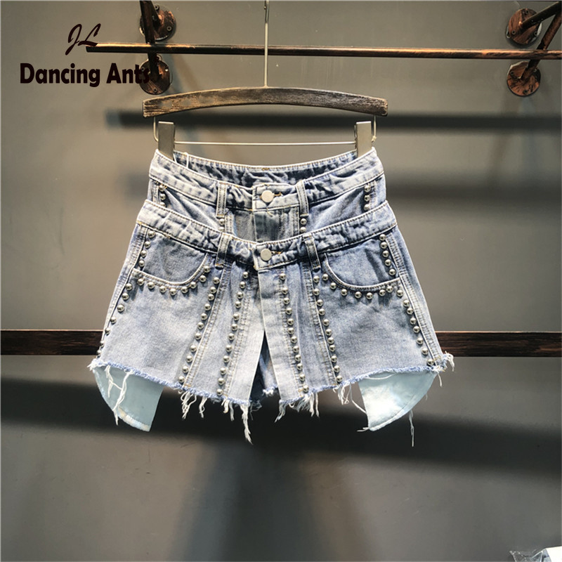 Woman Loose Wide-leg High Waist  Jeans Skirt Shorts Solid Vintage Embroidered Flares Office Lady Asymmetrical Denim Skirt Shorts