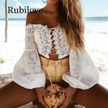 Rubilove Fashion Ladies Off Shoulder Lace Blouses Women Summer Long Sleeve Bandage Crop Tops Shirt Sexy Hollow-out Casual White