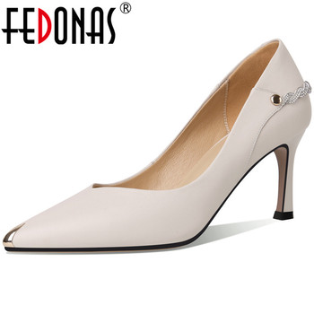 FEDONAS Women Pumps Crystal Glitters Metal Decoration Cow Leather Sexy High Heeled Working Shoes Spring Summer Shoes Woman