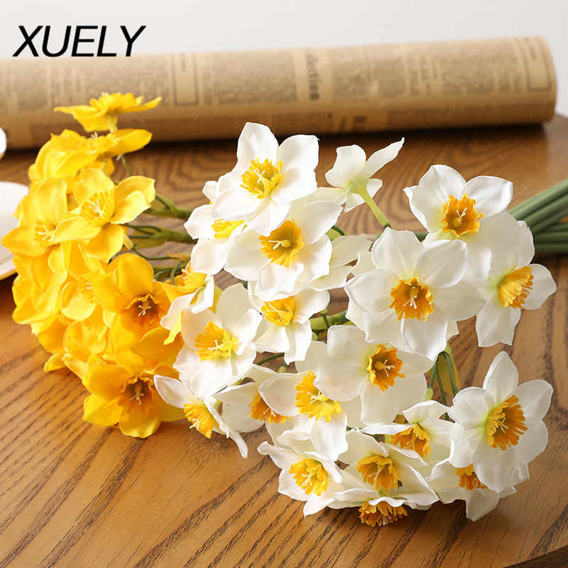 6pcs/Lot European-style Simulation Narcissus Flower Living Room Window Decoration Fake Flowers Wedding Scene Decor Daffodil
