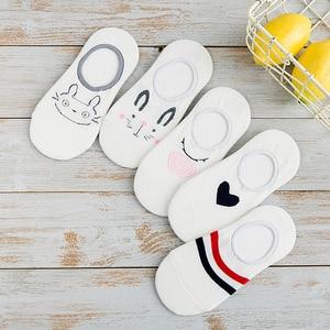 5Pairs Arrivl Women Socks Funny Fruits Cute Happy Silicone Slip Invisible Cotton Summer Non-slip Short Kawaii Animal Boat Socks