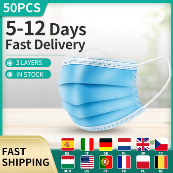 50pcs/Lot 3-Layers Mouth Mask Face Masks Disposable Filter Safety Mask Earloop Face Masks