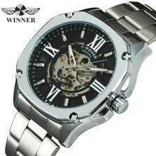 Zwycięzca oficjalna moda automatyczny zegarek mężczyźni szkielet mechaniczne męskie zegarki Top marka luksusowy zegarek ze stali nierdzewnej kwadratowy