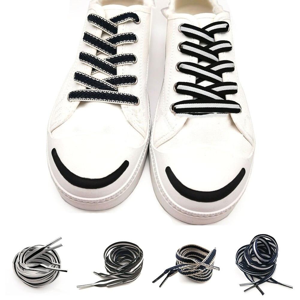 1Pair 80CM Flat Reflective Shoe Laces Safety Luminous Shoelaces Casual Sport Canvas Shoe Laces Glowing Basketball Shoelaces