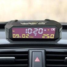 TPMS Look Solar Car cyfrowy zegar z datą czasu LCD wyświetlacz temperatury w samochodzie akcesoria do wnętrz samochodowych