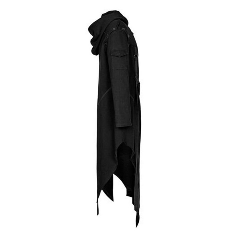 Dihope Men Gothic Style Hip Hop Trench Coat Hooded Cloak Men's Irregular Design Long Cardigan Street Punk Vintage Jackets
