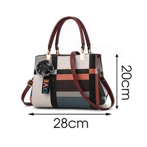 Image 5 - Stickerei Frauen Handtaschen mit Pelz Ball Designer PU Leder Schulter Crossbody tasche Büro Dame Messenger Tote Tasche Weibliche Geldbörse