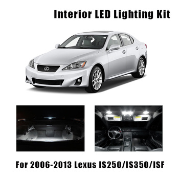14pcs White Canbus LED Bulbs Interior Map Dome Trunk Light Kit For 2006-2013 Lexus IS250 IS350 ISF Plate Vanity Mirror Lamp