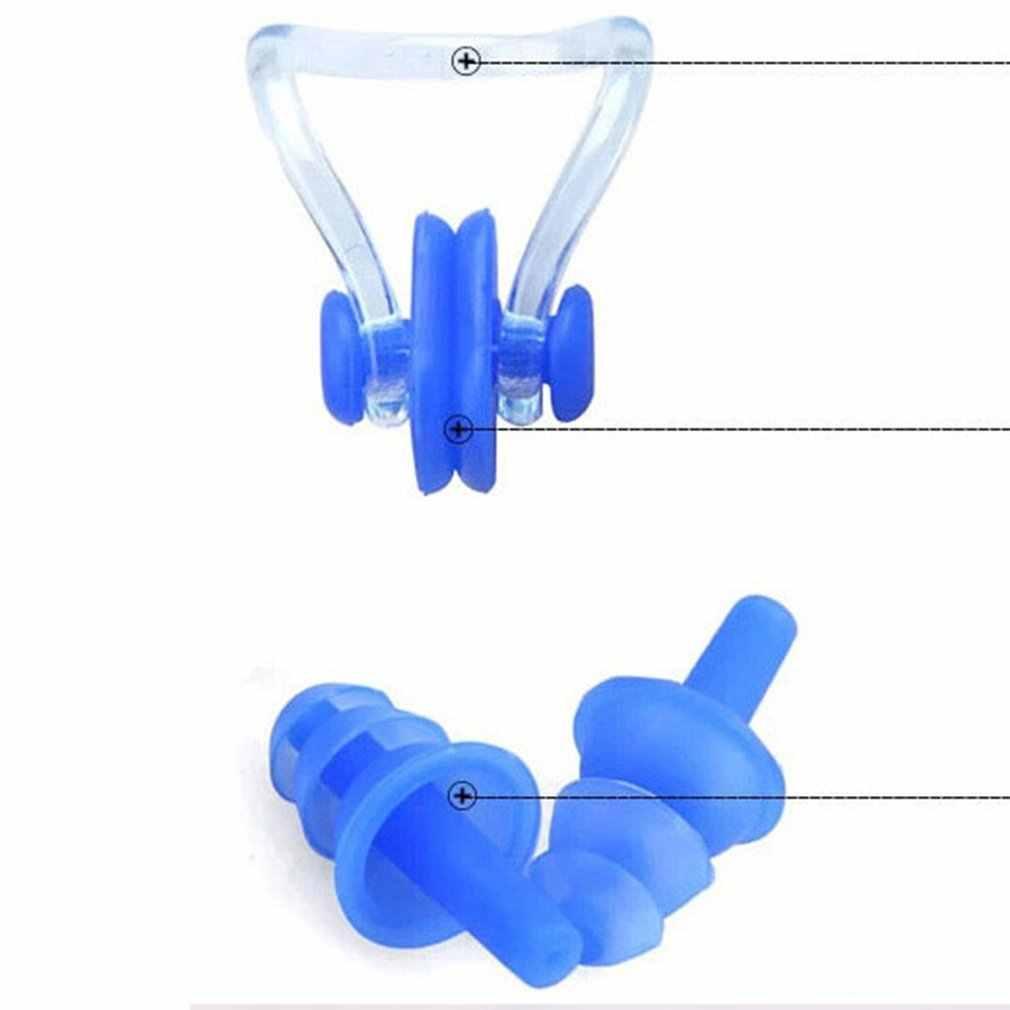 עמיד למים רך שחייה אטמי אוזניים האף קליפ מקרה מגן למנוע מים הגנת אוזן תקע רך סיליקון לשחות צלילה ציוד