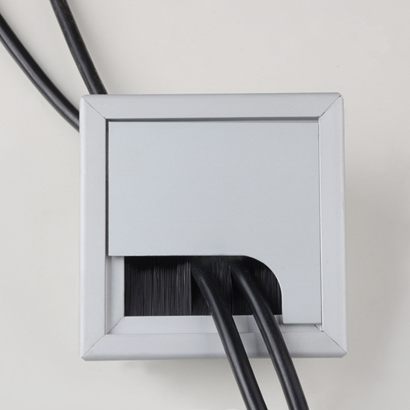 Alloy Square Cable Hole Cover 80*80mm Table TV Cabinet Computer Desk Wire Cable Grommet Hole Cover Outlet Port Line Holder