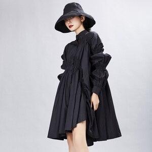 Image 3 - [Eem] kadın büyük boy boy pileli elbise yeni standı boyun uzun fener kollu gevşek Fit moda gelgit bahar sonbahar 2020 1A331