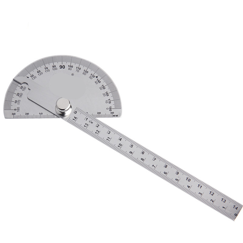 1PCS 14.5cm Stainless Steel Round Head 180 Degree Protractor Measuring Ruler Carpenter Tool
