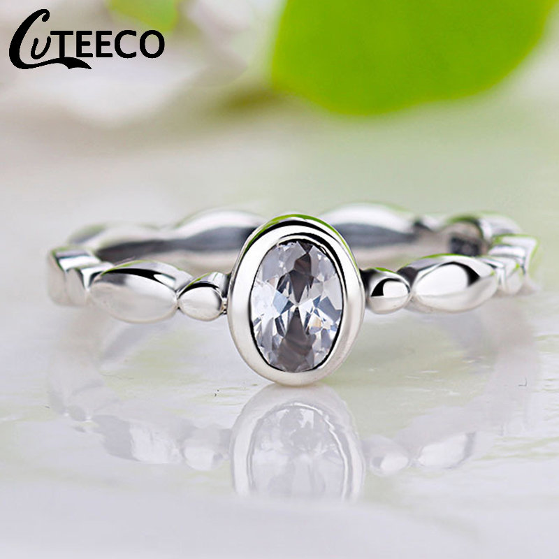 Cuteeco Hight Quality Silver Pandora Ring Love Heart Ring Original Wedding Jewelry Gift For Lover Engagement Accessories