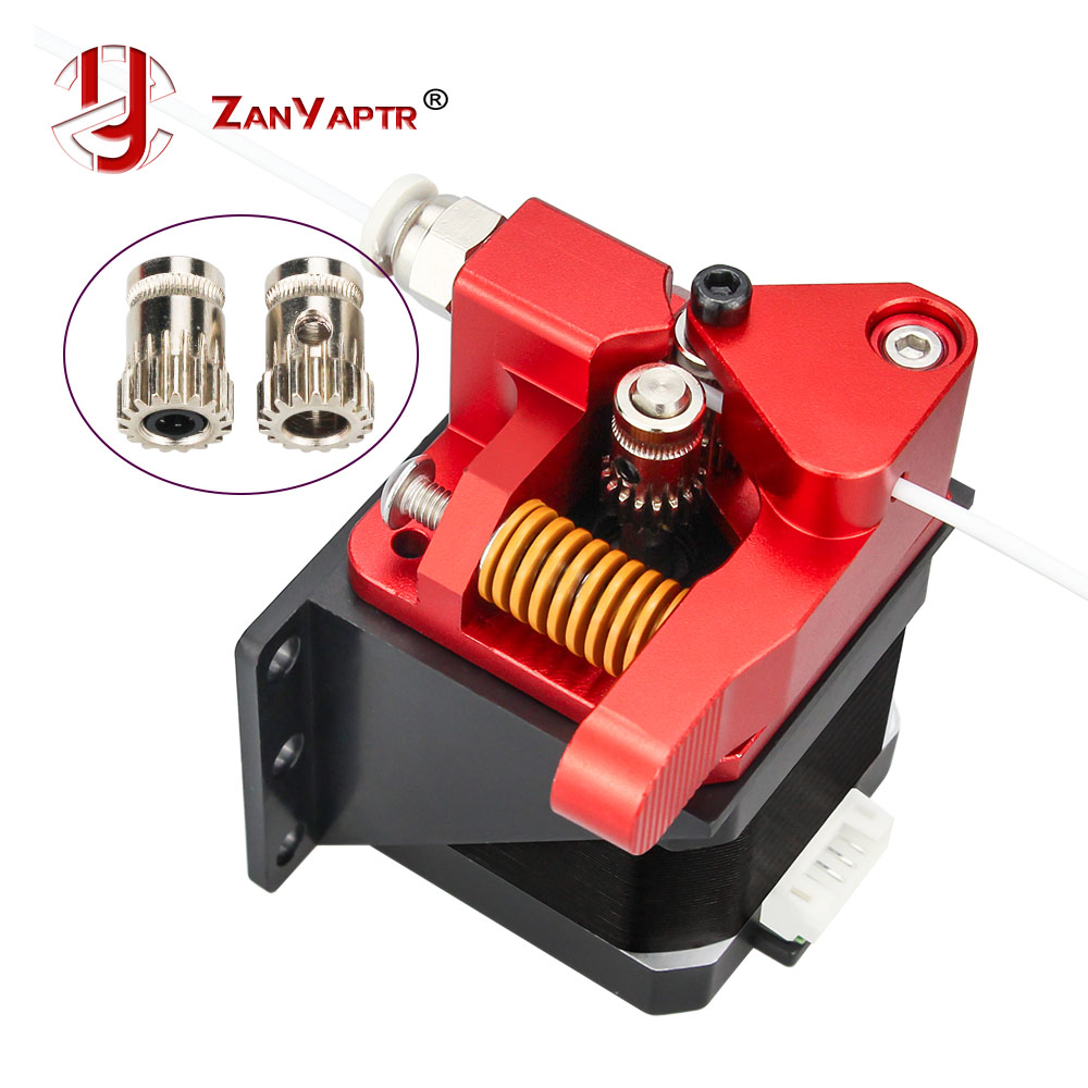 Aluminum Upgrade Dual Gear Mk8 Extruder for Extruder CR10 CR-10S PRO RepRap 1 75mm 3D Parts Drive Feed double pulley