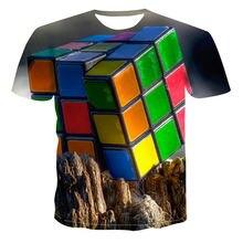 Новая мужская футболка с 3d принтом кубика Рубика интересная