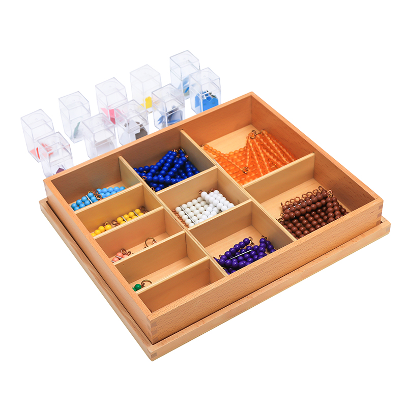 Montessori Mathematics Instruments Kindergarten Children's Mathematics Learning Toys Short Beads And Label Box