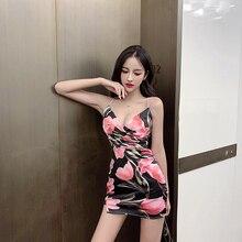 Summer Print Sexy Mini Dress Women 2019 New Casual Sleeveless Low Cut V-neck Black & Pink Sling Dress Elegant Boho Party Dresses все цены