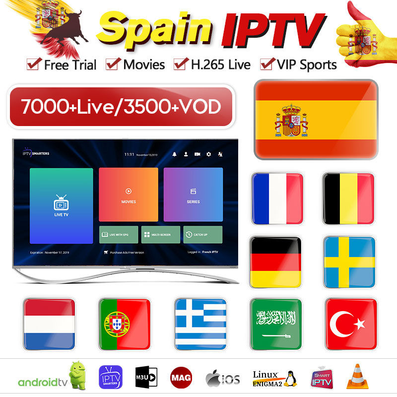 Spanish IPTV Subscription France Belgium Portugal Spain IPTV Code Dutch Greek Germany Arabic IP TV For MAG Android Smart TV M3U