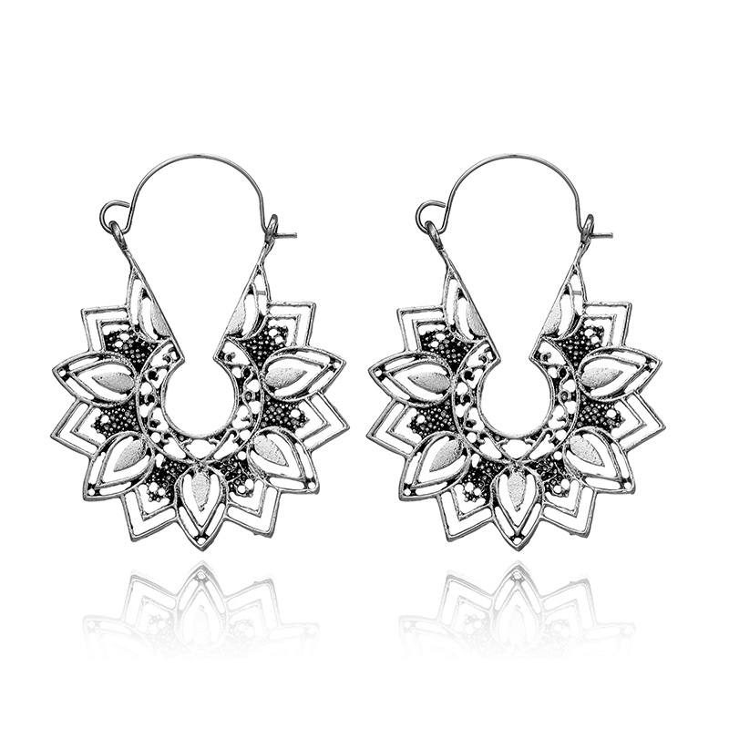Hd79c9a1fcc9042ad906d13311c978a17u - Tibetan Silver Color Color Carved Flower Vintage Ethnic Drop Dangle Earrings Retail Jewelry Jewellery Gift For Women