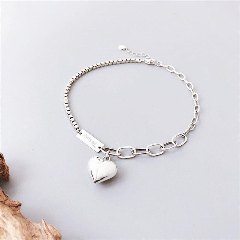 Sole Memory Retro Cute Romantic Heart Sweetness 925 Sterling Silver Female Resizable Bracelets SBR275