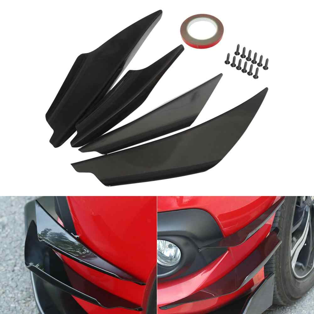 4Pcs/Set Black Carbon Fiber Universal Fit Front Bumper Lip Diffuser Splitter Fins Body Spoiler Canards Valence Chin Car Tuning C