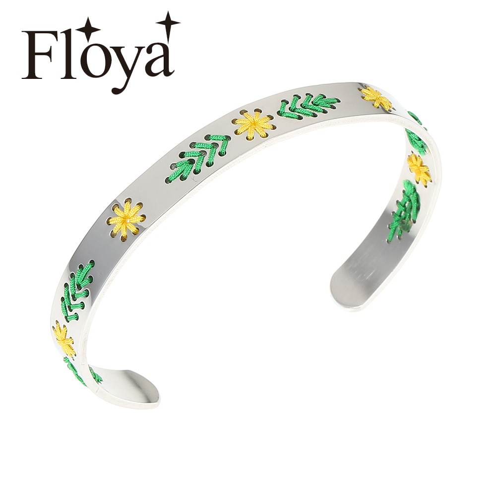 Floya Flower Cuff Bangles Knit Stainless Steel Lovers Bracelets Ethnic Style Femme Personality Exquisite Women Bangle