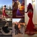 Mermaid Prom Dresses Gold Applique Full Sleeve Royal Blue Wedding Evening Dress 2021 Luxury Beading Mesh Back vestidos de gala