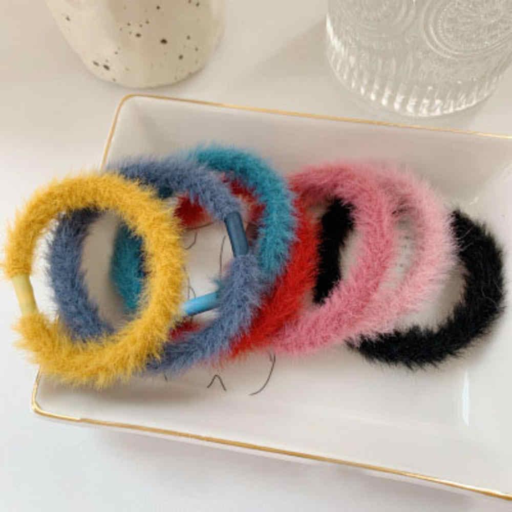 Moda fofo pele do falso peludo scrunchie elástico anel de cabelo corda banda gravata redonda meninas scrunchie preto fofo branco