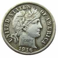 Monedas de copia chapadas en plata de 1916 P/S de barbero de EE. UU.