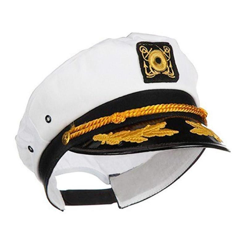 Adjustable White Embroidered Boat Captain Navy Cap Sailor Boating Hat Beret Adults Children Professional Dress