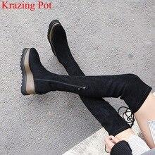 Yeni gelenler akın platform kare ayak takozlar diz çizmeler üzerinde zarif lace up pist uyluk yüksek çizmeler kadın kışlık ayakkabı L03